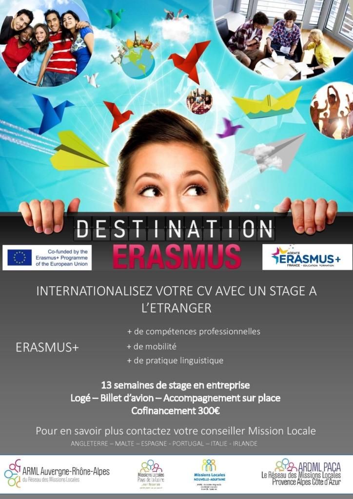 Mobilité international pour les jeunes 18/25 ans avec Eramus +